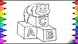 How To Draw abc Alphabets with Cat Animal | Alphabet ABC Coloring Pages| Learning Books for Children