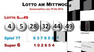 Lotto Ziehung - Lottozahlen vom Mittwoch, 29. Juni 2016
