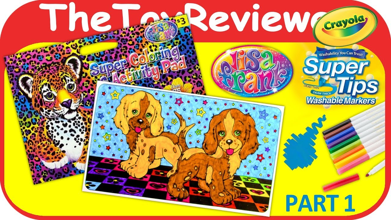 Part 1  Lisa Frank Coloring Book Page Puppies Crayola Markers