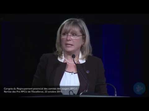 Allocution de la ministre Francine Charbonneau - Prix RPCU de l'Excellence 2015