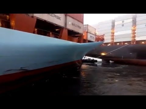 Container ships collided in the morning 24 Mar 2018