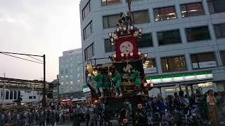 2018年7月20日、熊谷うちわ祭り初日に熊谷駅周辺での山車が集まっての初...