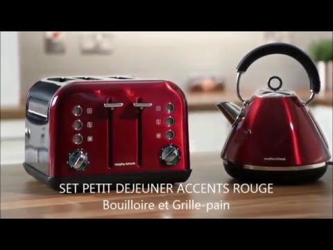set petit d jeuner accents rouge bouilloire 242004 grille pain 242004 morphy richards youtube. Black Bedroom Furniture Sets. Home Design Ideas