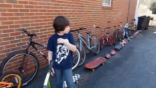 Too many bikes and skateboards!