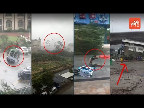Typhoon Hato Hits Hong Kong | Literally People are flying by the effect of Wind | YOYO TV Channel