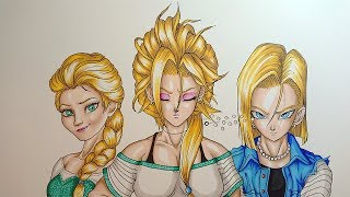 Drawing ANDROID ZERO | Android 18 - Elsa Fusion