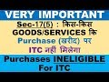 GST : NO INPUT TAX CREDIT, ITEMS ON WHICH ITC IS NOT AVAILABLE, ITC INELIGIBLE PURCHASES