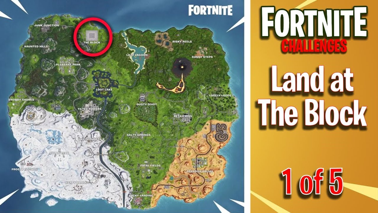 Where Is The Block In Fortnite Going Land At The Block Stage 1 Of 5 Fortnite Challenge Youtube