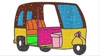 Auto Riksha Drawing | How To Draw Vehicles |  #learncolors #cartoon #coloresparaniños