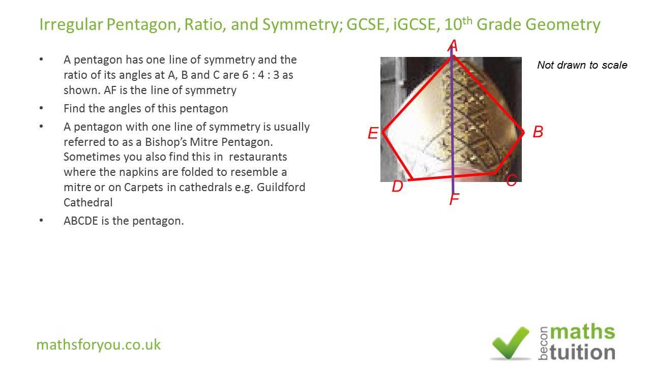 worksheet 10th Grade Geometry pentagon irregular ratioand symmetry gcse igcse 10th grade geometry