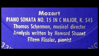 "Mozart: A 1955 ""Analysis"" of Piano Sonata No. 15 in C Major, K.545 --  Book of the Month Club"