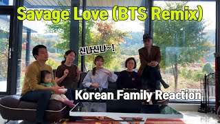 [ENG] BTS 방탄 - Savage Love (Laxed – Siren Beat) [BTS Remix] REACTION 리액션 / Korean Family Reaction
