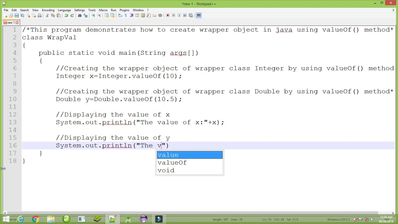 Tutorial 5 :Java program for demonstrating how to create wrapper object using valueOf() in Java. - YouTube