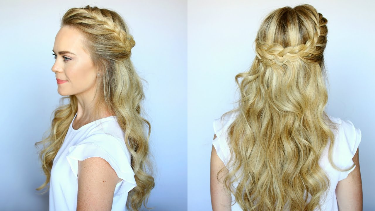 half up french braid crown missy sue youtube