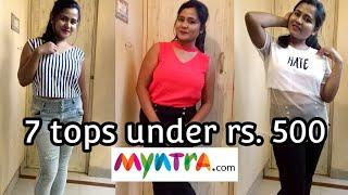 Myntra Tops Haul Under ₹500 || 7 tops for summer| Crop top, Cold Shoulder top