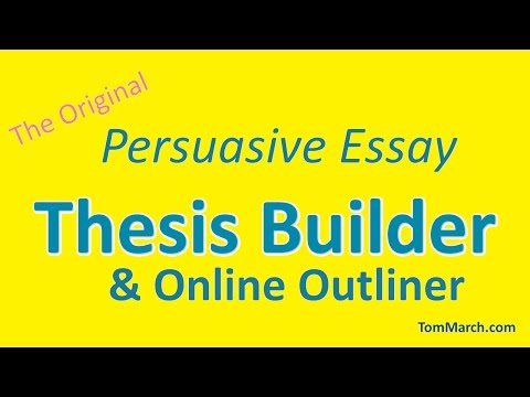 thesis builde Create a good thesis statement to use thesis builder, you'll need: a topic opinions about the topic reasons for your opinion and a main reason others might disagree.