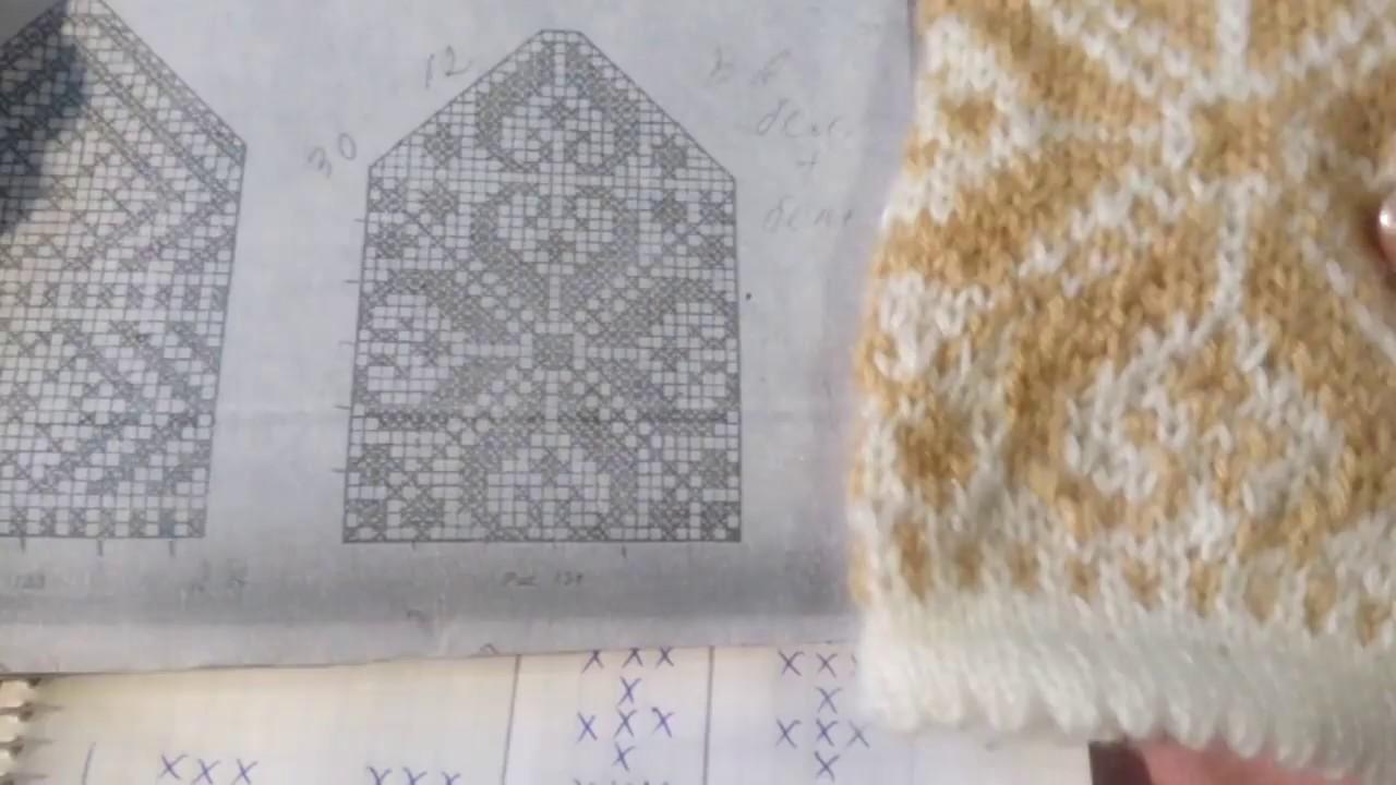 мк вязание варежек с орнаментом часть 1 Youtube