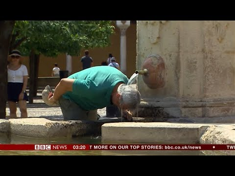 Extreme weather 2018 - Spaniards & Britons (Spain) - BBC News - 4th August 2018