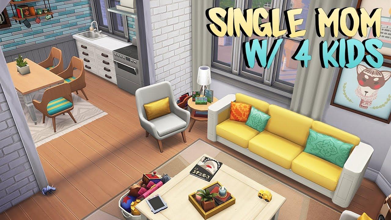 SINGLE MOM W/ 4 KIDS APARTMENT 👱🏻♀️👶🏻 | The Sims 4 | Apartment Renovation Speed Build thumbnail