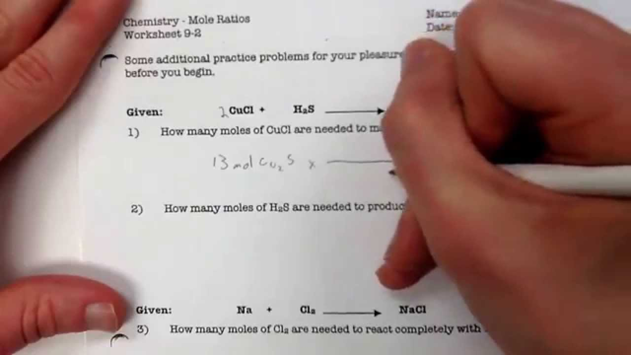 Mole Ratios Worksheet 9-2 #1 - YouTube