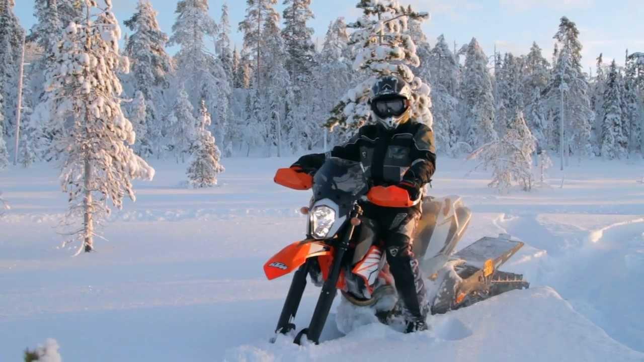 Bike Snow Tires >> Kelkkalehti 2013 #001 - Snowbike - KTM 690 Enduro R + Timbersled Mountain Horse LT 137 - YouTube