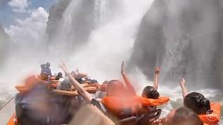 Boat tour through the waterfalls of Foz do Iguaçu, Brazil