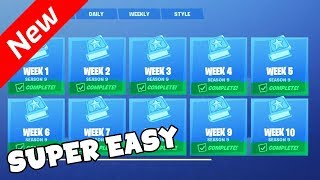 Complete ALL Fortnite Season 9 Challenges In One Game Using This Simple Glitch.. (EASY + SOLO)