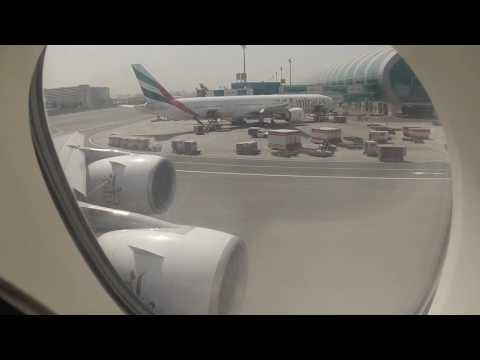 Emirates A380 Upper deck Take off from Dubai Airport