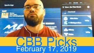 CBB Picks (2-17-19) | College Basketball NCAAB Expert Predictions Video CBK NCAAM | Men's NCAA Vegas