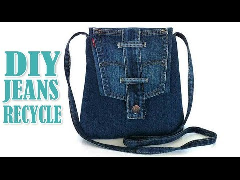 DIY JEANS LONG STRIP BAG IDEA OUT OF OLD JEANS // Cute Purse Bag From Jeans Pants Recycle