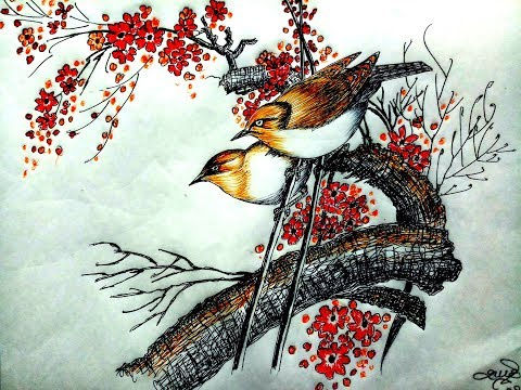 Chinese painting | Tutorial | Colerd by dot pens |daughter of an artist |