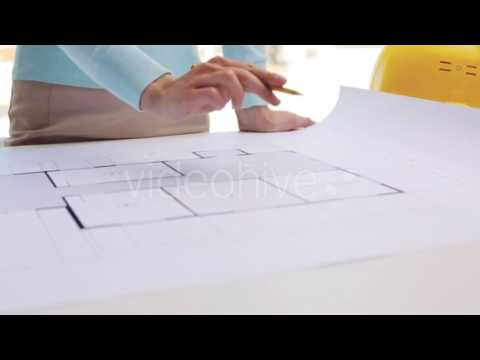 Woman With Architectural Blueprint And Pencil - Stock Footage | VideoHive 16285519