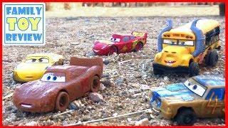 Disney Cars 3 Toys LIGHTNING McQueen ESCAPES Miss FRITTER Thunder Hollow Demo Derby CRASH MAYHEM