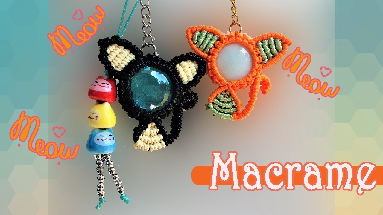 653a905a76 Macrame CAT pattern tutorial 😺🐱😼 The macrame KITTY key chain for Iphone 8