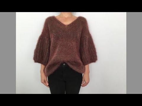 Модный мохеровый свитер. Пышная английская резинка по кругу. Simple Knit Sweater.