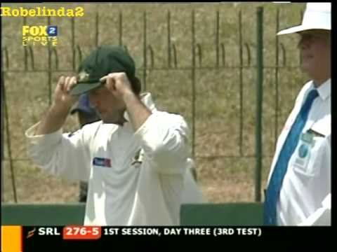 Explain this Aussie sportsmanship, what is Justin Langer doing?  India & Pakistan cheaters f*ck off!