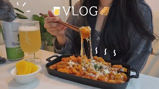 ENG)Making spicy chili tangsuyuk🌶 and making cereal bars 🥜ㅣSilver Button, new camera, pizza, pasta