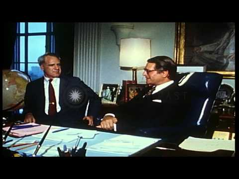 The Secretary of Defense, Elliot L Richardson meets Director of Central Intellige...HD Stock Footage