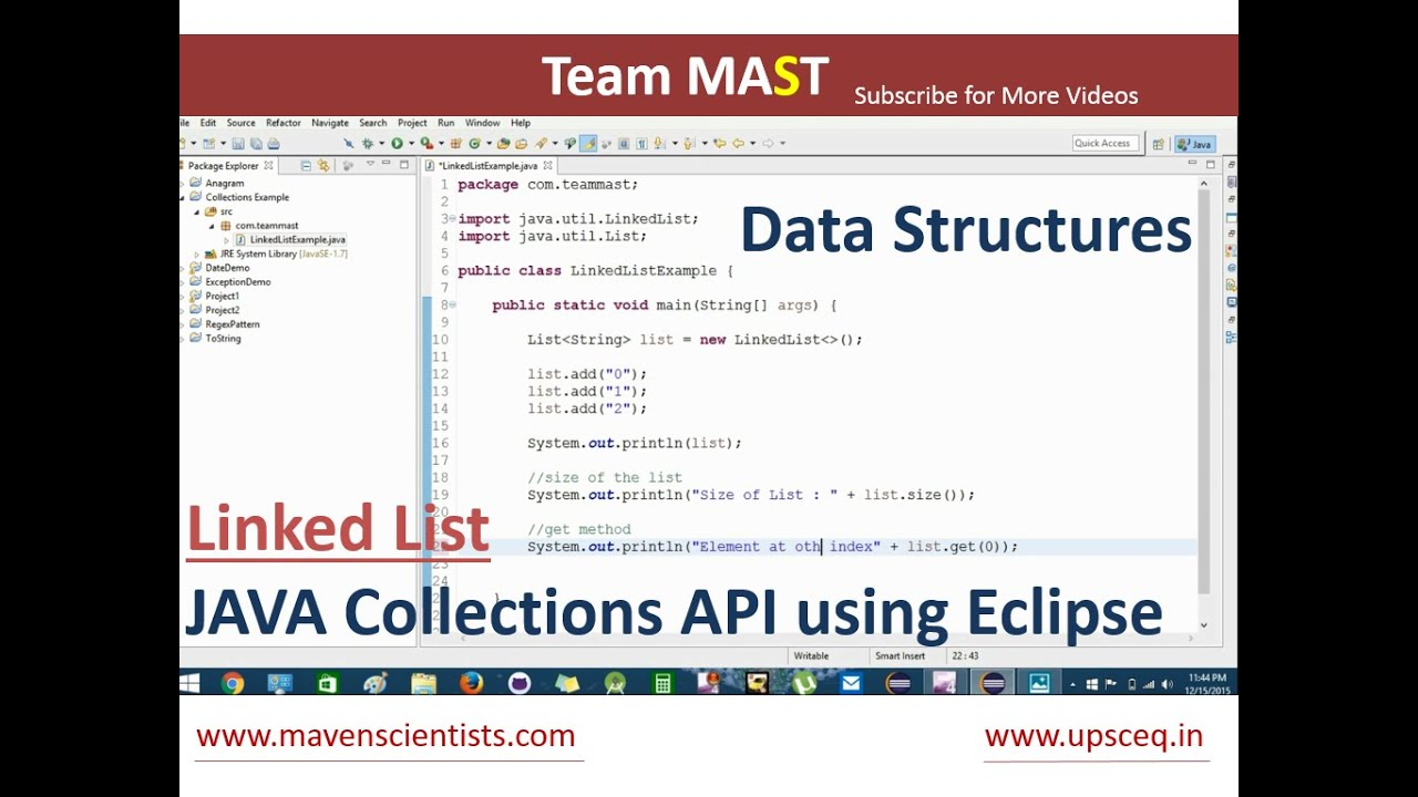Linked List Example in Java using Eclipse | Team MAST - YouTube