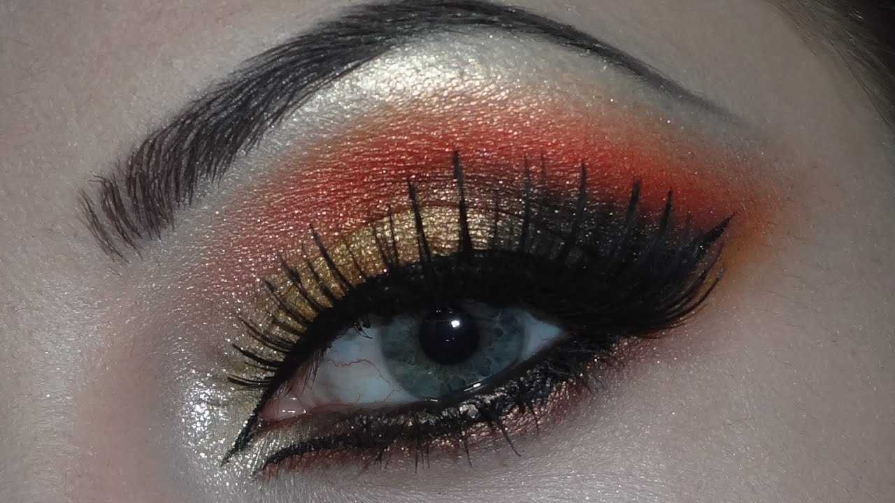 Indian Bridal Makeup Golden Red And Black Eyeshadows Youtube
