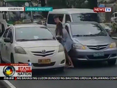 Panununtok umano ng isang babaeng motorista sa isang taxi driver, viral online