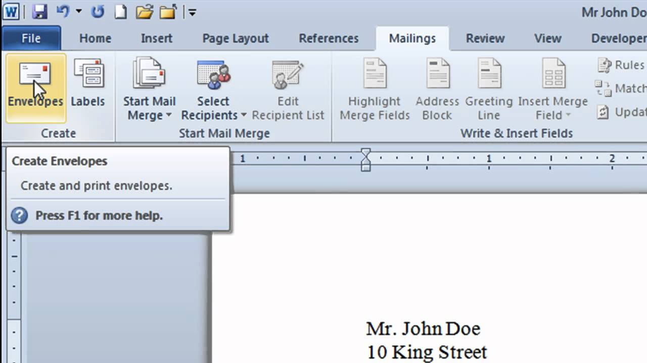 Microsoft Word Envelope - how to create