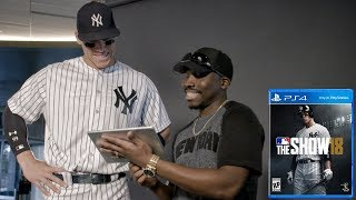 SHOWING AARON JUDGE ONE OF MY VIDEOS! MLB The Show 18 Cover Shoot & Interview