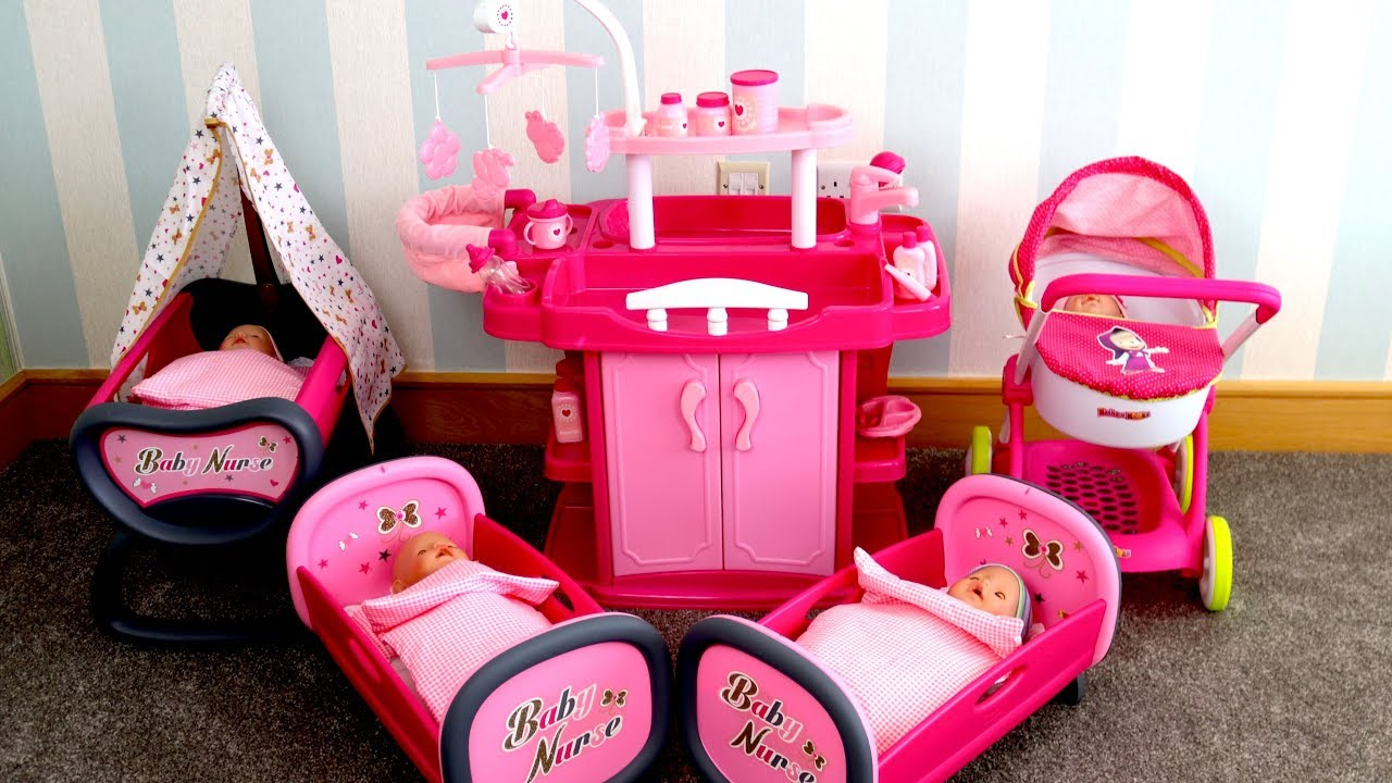 Baby Toy High Chair Set Bath For Dolls Nursery Center Unboxing Up W Wardrobe Change Table Highchair