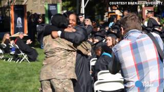 Soldier returns home to surprise mom at graduation