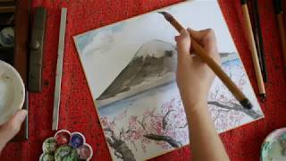 MT. FUJI AND CHERRY BLOSSOMS Spring in Japan - Japanese Painting