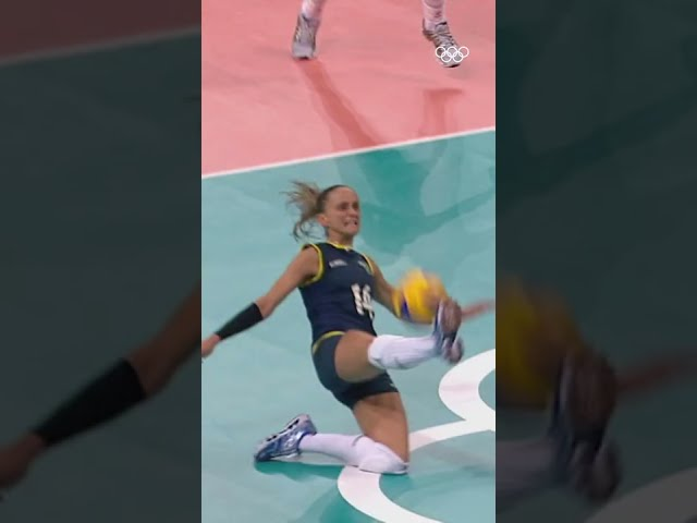 This volleyball save is INSANE! 😲 #Shorts