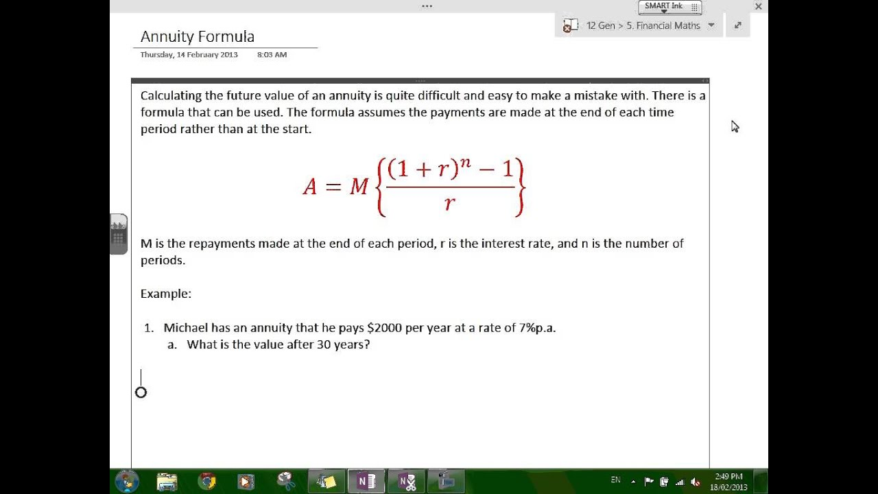formulas for annuities