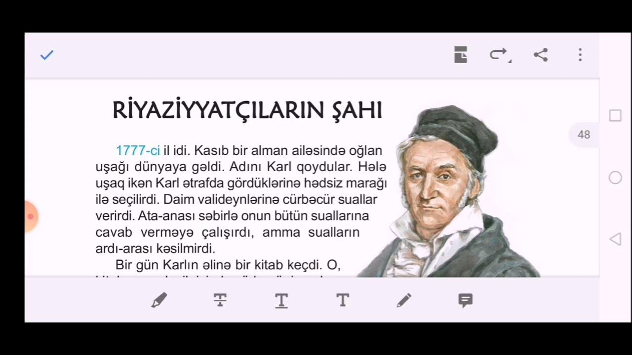 Riyaziyyatçıların Şahı mətni. Say və onun mənaca növləri. Səhifə 46-48. Azərbaycan dili 6-cı sinif