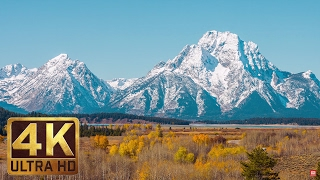 Grand Teton Mountains Scenery | 1 Hour - Relaxation Video in 4K | Last Days of Fall Foliage
